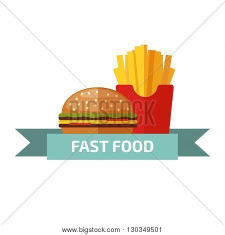 Fast food logo. Junk food logo. Stock vector. Vector illustration.