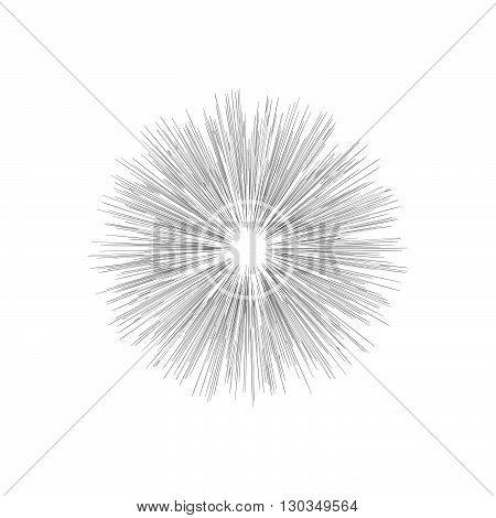 Engraving star. Monochrome star burst. Stock vector. Vector illustration.