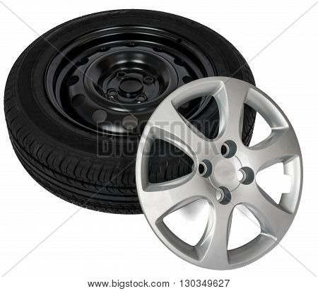 Modern steel car wheel with plastic cover isolated on white background