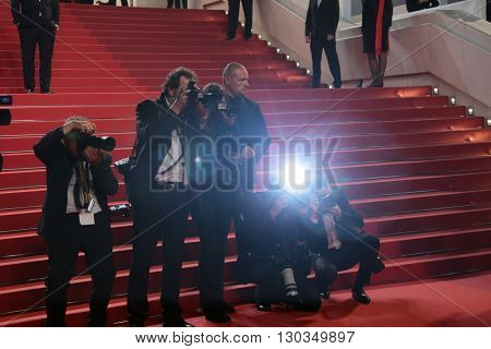 Photographers attends 'The Unknown Girl (La Fille Inconnue)' Premiere duirng the annual 69th Cannes Film Festival at Palais des Festivals on May 18, 2016 in Cannes, France.