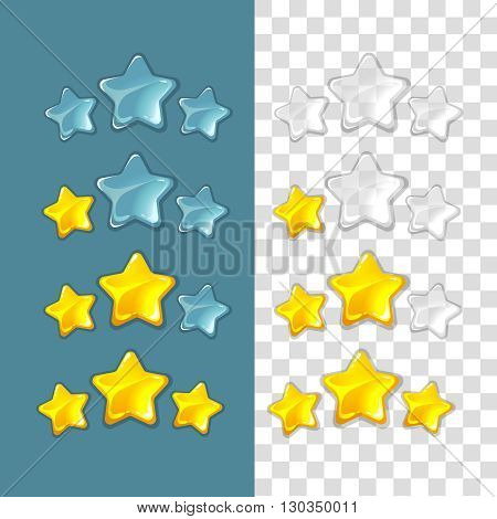 Ranking stars. Vector game elements in cartoon style. Rating star,  game star ranking gold, star success ranking, best ranking star interface illustration