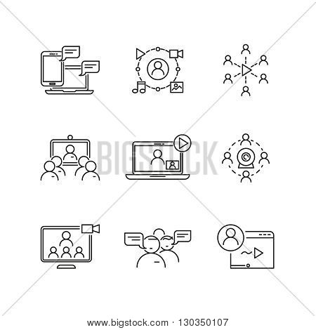 Webinar and communication vector linear icons. Communication webinar, internet communication, webinar video, media  communication, webinar conference business illustration