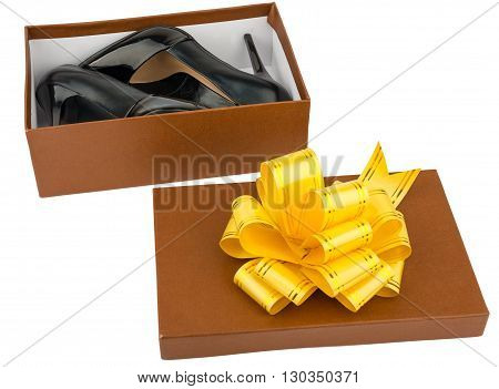 Ladies high heeled shoes in shoebox isolated against white background