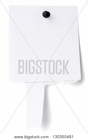 Advertisement with possibility to tear off notes. Isolated on white