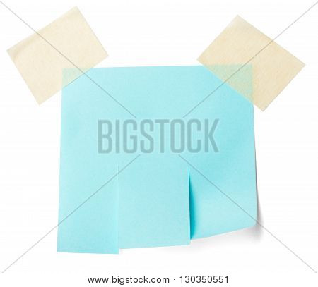 Blank blue paper with tear off tabs. Isolated on white