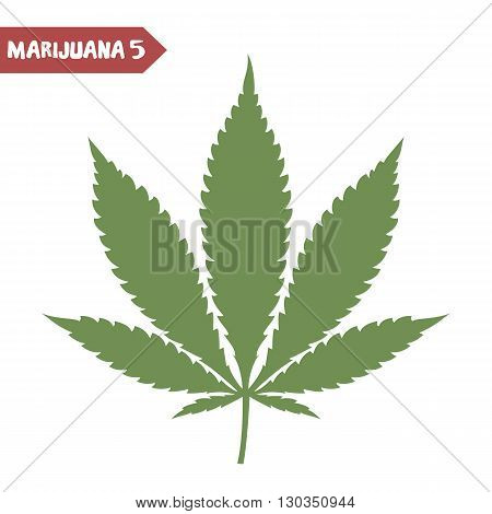 Marijuana leaf. Medical cannabis leaf isolated on white. Graphic design element for web prints t-shirt. Vector illustration.
