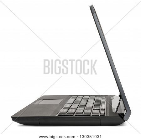 Black laptop side view, isolated on white