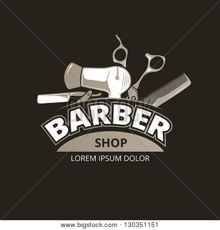 Barber shop vintage background. Salon barber badge label, Barber shop service, banner barber shop, logo barber shop illustration