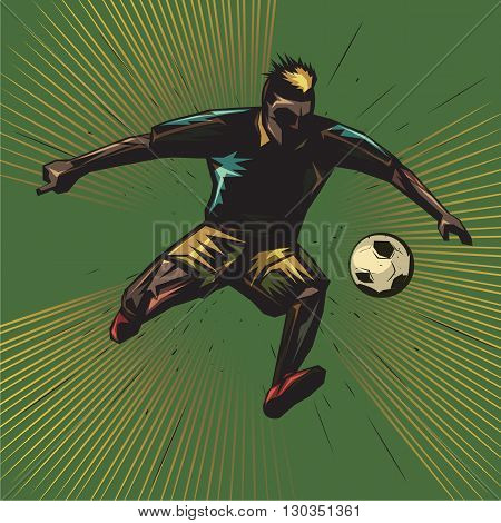 abstract soccer player kicking the ball while jumping