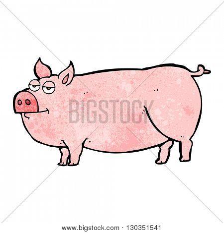 freehand textured cartoon huge pig