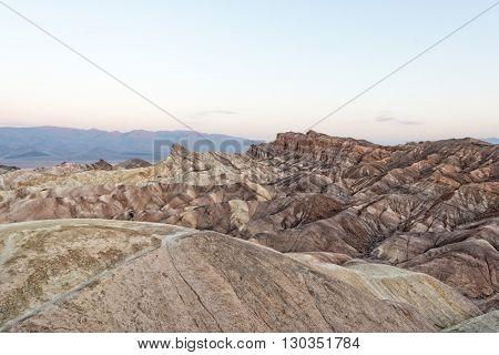 Zabriskie point death valley wonderfull sunrise panorama