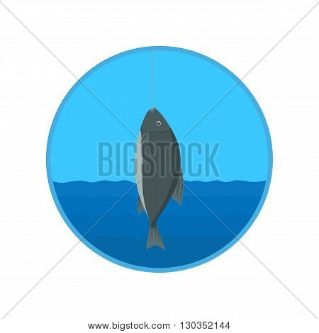 vector icon - fish caught on the hook on the background of river and sky. illustration
