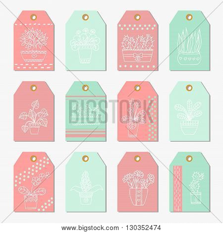 Cute hand drawn vector flowers and leaves in the pots. Gift tags and labels.