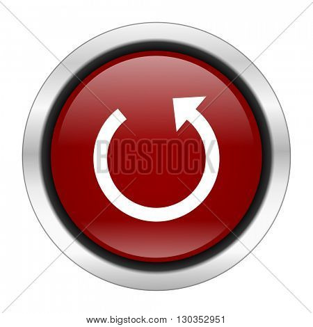 rotate icon, red round button isolated on white background, web design illustration