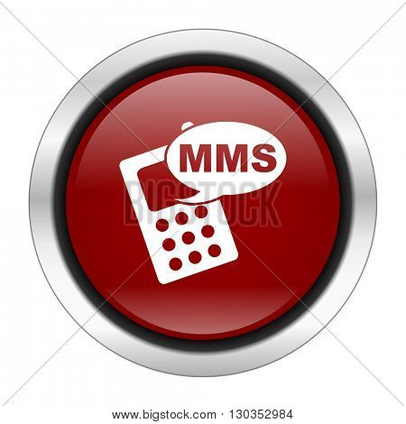 mms icon, red round button isolated on white background, web design illustration