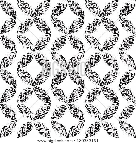 Vector geometric classic seamless pattern. Repeating abstract circles rhombus gradation in black and white. Modern halftone circle design pointillism