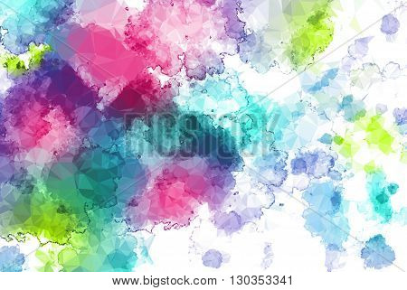 Abstract watercolor background with low poly effect