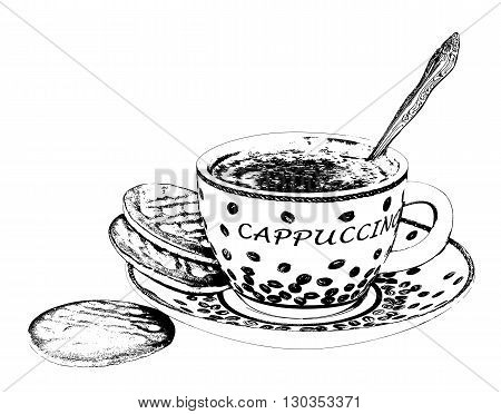 Coffee Cup. Ink drawing. There is an option in the vector.