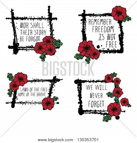 Memorial day cards with red poppies, text and black stains