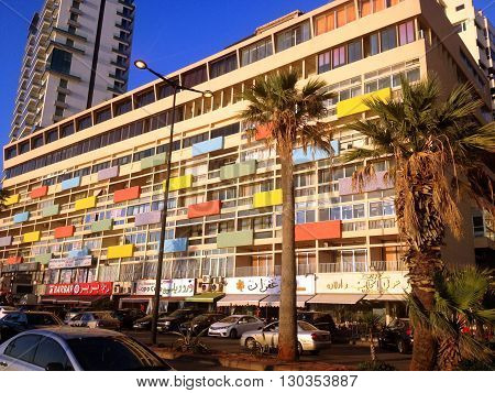 Beirut, Lebanon - January 13, 2016: Modern buildings with cafe and restaurants on famous cornice seaside in Beirut, Lebanon