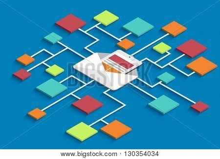 vector modern isometric email marketing background. eps10