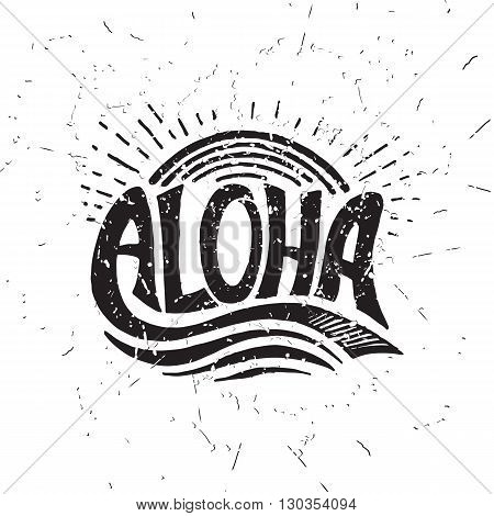 Aloha surfing lettering. Vector calligraphy illustration. Hawaiian handmade tropical exotic t-shirt graphics. Summer apparel print design. Retro drawn sea wave sun spray vintage texture