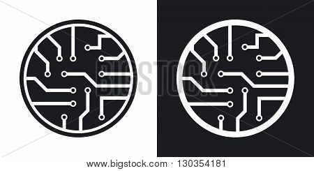 Vector circuit board icon. Two-tone version on black and white background