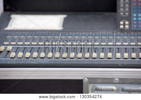 professional audio mixer slider detail close up