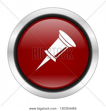 pin icon, red round button isolated on white background, web design illustration
