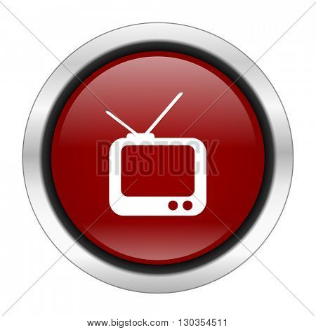 tv icon, red round button isolated on white background, web design illustration