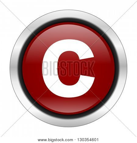 copyright icon, red round button isolated on white background, web design illustration