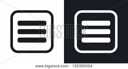 Vector expand menu button. Two-tone version on black and white background