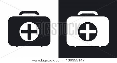 Vector first aid box icon. Two-tone version on black and white background