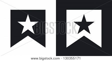 Vector flag with star icon. Two-tone version on black and white background
