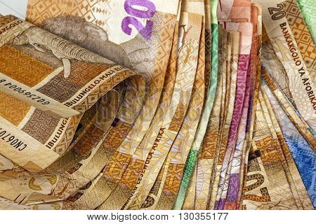 Spread Of Various South African Bank Note Background