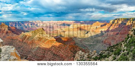 Grand Canyon landscape from north rim on cloudy sky background