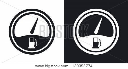 Vector fuel gauge icon. Two-tone version on black and white background