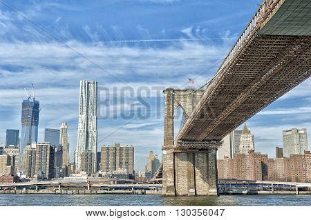 New York Manhattan View With Brooklyn Bridge