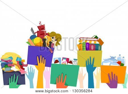 Illustration of People Carrying Donation Boxes Filled with Used Goods