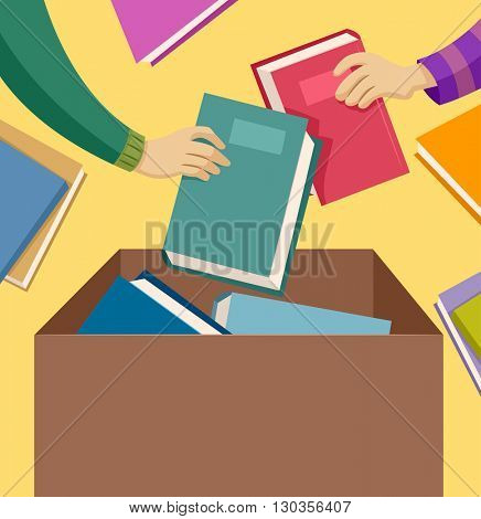 Illustration of People Donating Used Books