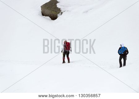 Isolated Snow Shoe Trekker