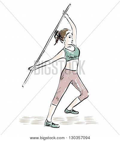 hand drawn sketch of woman engaged in fitness
