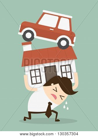 Debt. man want to home and car  as make debt. Cartoon Vector Illustration