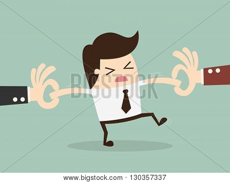 Two Businessman Snatching Employee. Cartoon Vector Illustration