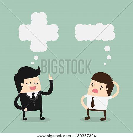Positive and Negative Thinking. Cartoon Vector Illustration