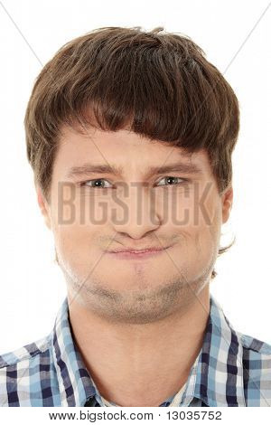 Young man with hiccup, isolated on white