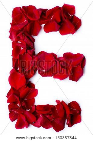Alphabet E Made From Red Rose