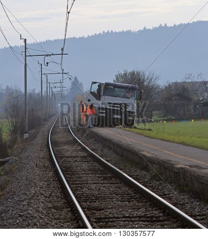 Ljubljana Slovenia - November 17 2015: team of workers is checking of railway in Ljubljana Slovenia