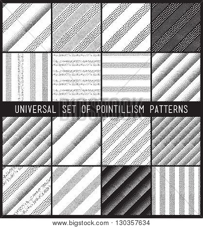 Vector Geometric Seamless Pattern Set. Repeating Striped Line Ab