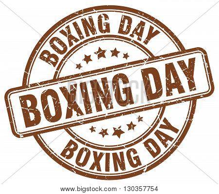 boxing day brown grunge round vintage rubber stamp